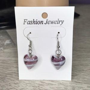 New purple glass heart earrings